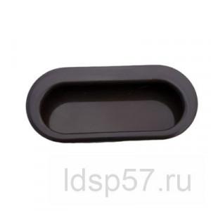 Ручка врезная овал для шкафов купе пластик -черная