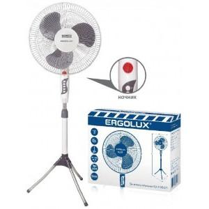 Вентилятор напольный ERGOLUX ELX-FS02-C31 серый/белый 45W 3скор d=40см h=130см, поворот 180° ночник