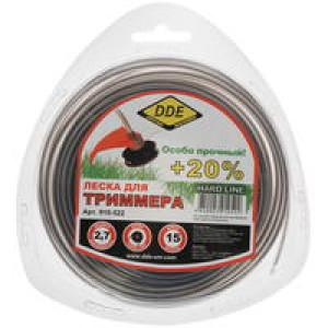 """Корд триммерный в блистере DDE """"Hard line"""" (круг армированный) 2,7 мм х 15 м, серый/красный"""