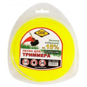 """Корд триммерный в блистере DDE """"Classic line"""" (круг) 3,0 мм х 28 м, желтый"""