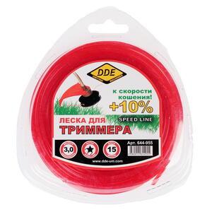 "Корд триммерный в блистере DDE ""Speed line"" (звезда) 3,0 мм х 15 м, красный"