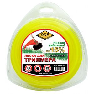"""Корд триммерный в блистере DDE """"Classic line"""" (круг) 2,4 мм х 15 м, желтый"""