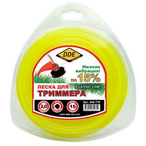 """Корд триммерный в блистере DDE """"Classic line"""" (круг) 2,0 мм х 15 м, желтый"""