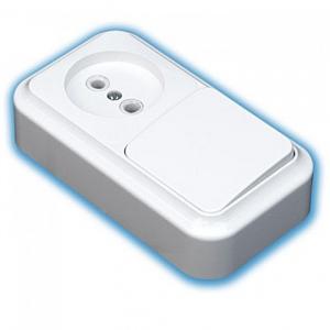 Блок  выкл.1кл+розетка ОУ белый 250 В СВЕТОПРИБОР В-РЦ-521