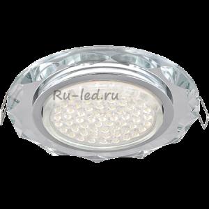 Встраиваемый потолочный светильник Ecola GX53 H4 Glass Стекло Круг хром - хром (зеркальный) 38x126
