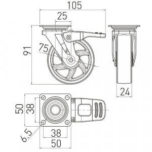 Колесо мебельное КМ-ВН75-00 прозрачное d-75 со стопором