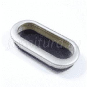 Ручка врезная овал для шкафов купе пластик -хром