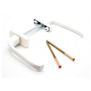 Гарнитур для балконной двери узкий алюминиевый белый